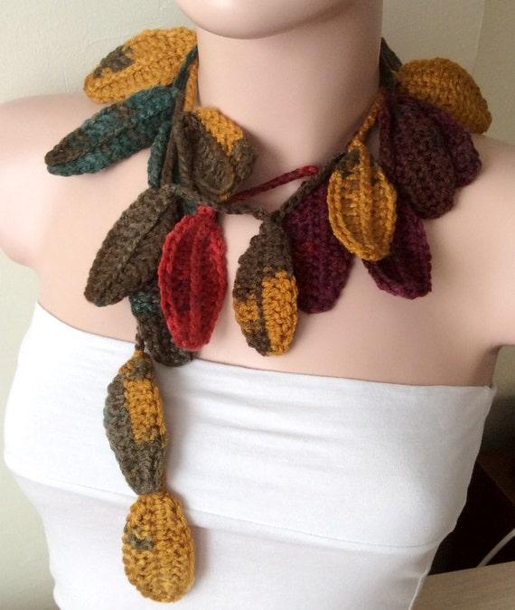 Leaf Scarf, Handmade Crochet Autumn, Flower Lariat, Scarf, Necklace