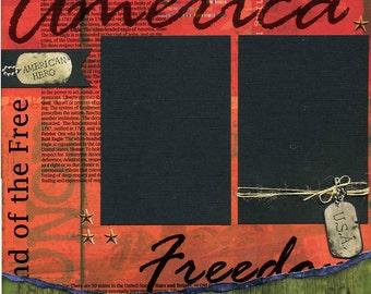 12x12 Premade Scrapbook Page - American Hero