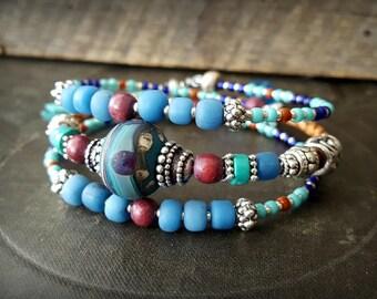 Boho, Gypsy, LampWork Glass, Bolo Leather, Bangle, Memory Wire, Wrap, Beaded Tribal Charm Bracelet