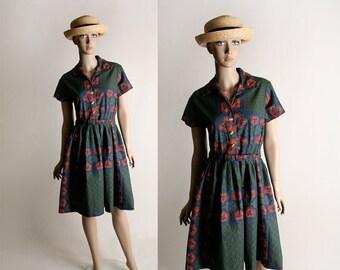 ON SALE Vintage 1950s Border Print Floral Dress - Cotton Shirtwaist Day Dress - Medium