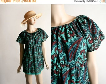 ON SALE Vintage 1970s Mini Dress Top - Psychedelic Paisley Print Teal Green Burgundy Empire Waist Tunic Dress - Small