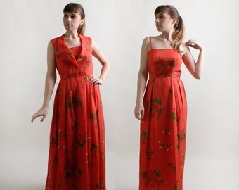 ON SALE Vintage Maxi Dress - Two Piece Floral Chiffon Overlay Floor Length Gown - Medium