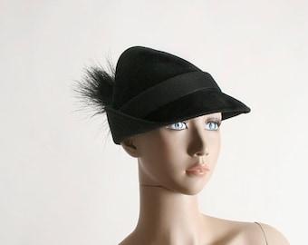 ON SALE Vintage 1950s Hat - Black Peter Pan Shadow I. Magnin Feather Hat