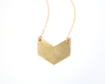 Minimalist Gold Chevron Necklace - Brass, Gold Fill or Sterling Silver Chain