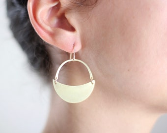 Crescent Moon Arch Earrings - Gold or Silver