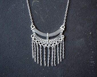 Crescent Fringe Necklace Antique Silver // Antique Bronze