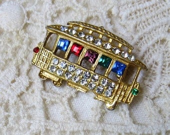 Vintage Rhinestone Trolley Car Pin, Streetcar Brooch, Cable Car Pin ... clear white and multi-colored rhinestones
