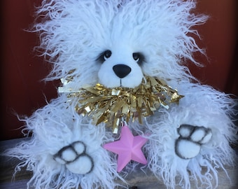 SALE - Snowball - Christmas Teddy KIT - make your own 12IN white curly faux fur artist bear