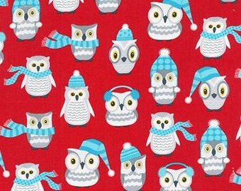 Owl Fabric, Winter fabric, Christmas Fabric, Cotton Fabric, Red fabric, Polar Pals fabric, Winter Owls in Red,  Choose your cut
