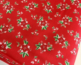 Christmas fabric, Pixie Noel fabric, Holiday fabric, Tasha Noel by Riley Blake, Cotton fabric, Pixie Floral in Red,  Choose the cut