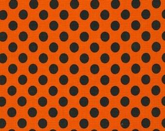 Halloween fabric, Polka Dot fabric, Spot On by Robert Kaufman, Spot On Medium Polka Dot in Pumpkin, Orange fabric, Choose the cut