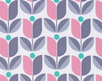 Floral fabric, Gray Fabric, Cotton Fabric by the Yard, True Colors fabric, Tulips in Pink Gray by Joel Dewberry, Choose your cut