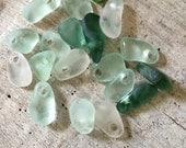 SEA GLASS ...19 small drilled sea glass pendants ~ aqua white ~ beach decor ~ weddings ~ jewelry supplies