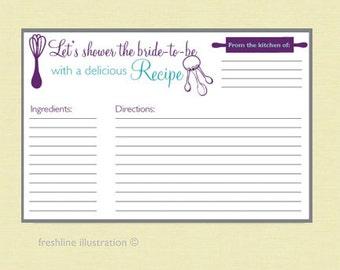 recipe cards 4x6, bridal shower recipe, recipes, custom recipe cards, recipe cards, personalized recipe