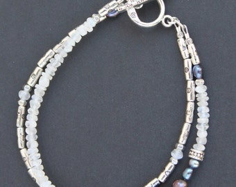 Moonstone Freshwater Pearl Silver Pewter Double Strand Bracelet Handcrafted Sundance Style