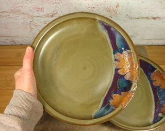 Set of Two Large Stoneware Plates with Oak Leaves -