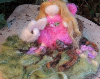 Garden Fairy with her Bunny in the garden play set - playscape - needle felted playmat Waldorf Inspired-