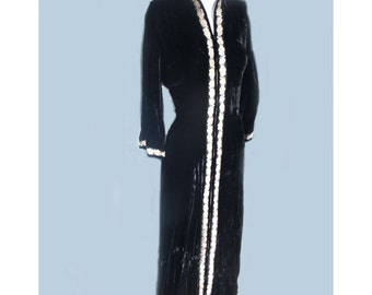 Vintage 1940's Bonwit Teller Black Velvet Hostess Dress