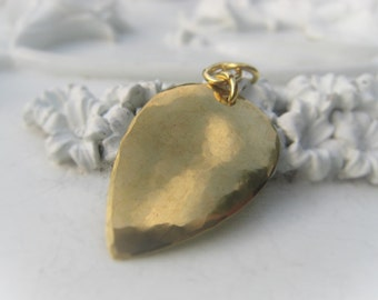 Gold Teardrop Hammered Brass Pendant  Item No. 3378SO
