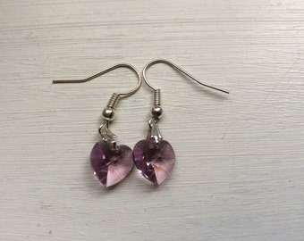 Lilac Swarovski heart earrings