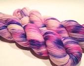 Hand Dyed Yarn – Superwash Merino Wool Cashmere Nylon MCN Sock Yarn  - Purple, Pink, Blue - 400 Yards – Fingering Weight Yarn