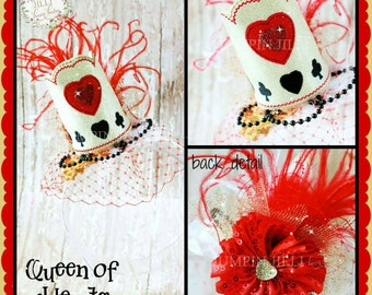 Custom Boutique Queen of Hearts inspired Crown Hair Flower