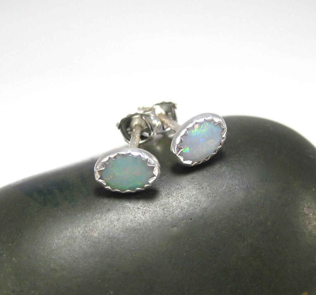 australian opal stud earrings genuine opal earrings