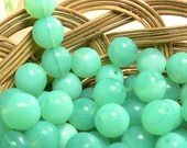 Green Opal Czech Glass Beads Round Druk Turquoise 8mm (30)