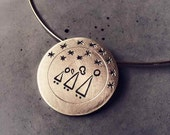 Sterling Silver Pendant with Family and Stars - Stargazing Family, Starry Night - Sterling Silver Necklace - Custom order available