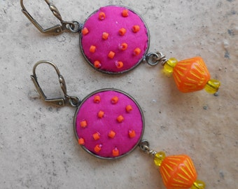 neon pink delight earrings