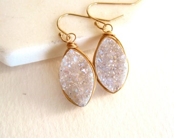 White druzy earrings, Marquise earrings, bridal Gold, rosegold, silver amaretto drusy Leaf Petal VitrineDesigns