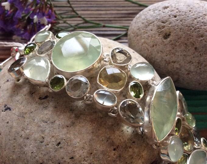 Stunning sterling and green amethyst bracelet