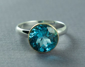 Swiss Blue Topaz Round Ring, Silver and Gold Ring, Solid 14K Gold and Sterling Silver,Bezel Set Gemstone,Made to Order,Free Courier Shipping