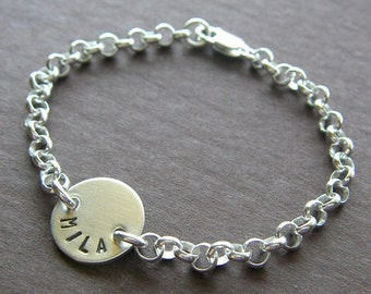 """Custom Bracelet - Personalized Sterling Silver Hand Stamped Charm Jewelry - 1/2"""" Charm with Optional Birthstone in Rolo Chain"""