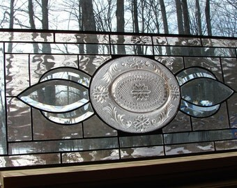 stained glass panel Sidelight Transom bevel window Pink vintage plate