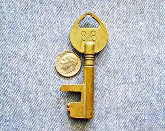 Brass Vault Lock Key Number 88 Patent 1884 Skeleton Key Antique Bank Safe Deposit Box Hardware