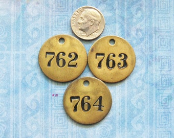 Brass Painted Number Tag Lot Mini Antique Victorian Numbered Motel Room Key Fob Repurpose Jewelry Hardware