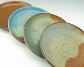 Pottery Lunch Plate Set of Four – Robust Durable Rustic Stoneware Salad Plates Luncheon Dishes Colorful Dinnerware, 4-6 Week Turnaround