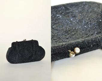 30% OFF 1940s Sequined Black Purse --- Vintage Walborg Evening Bag