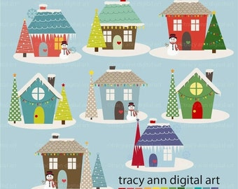 Holiday Houses Clipart  Snow Christmas Xmas Holiday Clipart  images