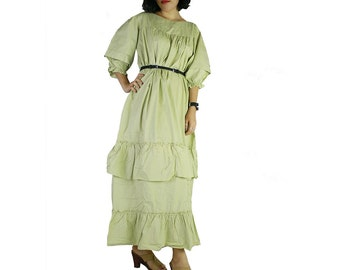 Green Cotton Long Ruffle Maxi Dress Plus size Long Loose Tunic (D 6)