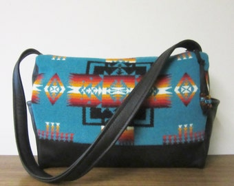 Shoulder Bag Hand Bag Black Leather Native American Print Turquoise Blanket Wool from Pendleton Oregon