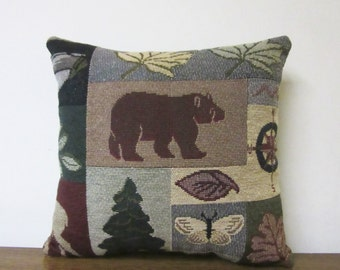 Child Pillow Car Pillow Camper Travel Bear Tapestry Cabin Lodge Leaves Pine Tree Butterfly
