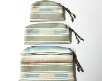Gift Set of 3 Wool Zippered Pouches Purse Organizers Travel Bags Pastel Blanket Wool from Pendleton Oregon