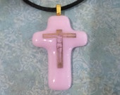 Cross Necklace, Pink Fused Glass Pendant, Religious Jewelry, Fused Glass Jewelry, Ready to Ship - Listen to Him --6