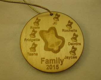 Personalized wooden bell christmas family or grandparent bell ornament