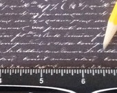 Dollhouse Miniature Victorian UPHOLSTERY FABRIC French Script Letters White on Black 1/12th