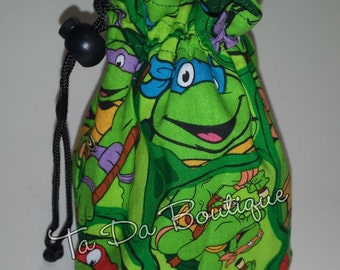 Ninja turtle Round Bottom Drawstring / Dice Bag