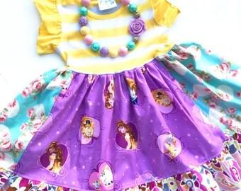 Beauty and the Beast Disney Princess dress Momi boutique custom dress