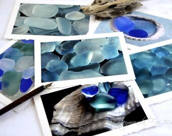 Blue Sea Glass photo card  Set of 6 5x7 blank card beach theme